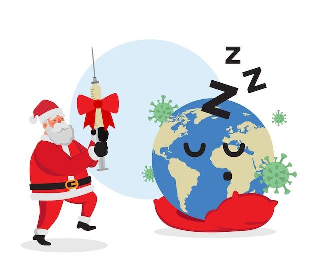 Weihnachtsmann, der impfstoff gegen koronavirus als weihnachtsgeschenk für die erde gibt