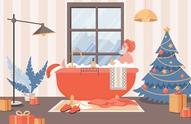 Weihnachtsmann, der in der badillustration entspannt.