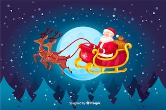 Weihnachtsmann, der in Pferdeschlitten fliegt