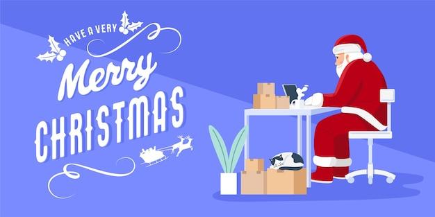 Weihnachtsmann, der laptop verwendet, um geschenke am weihnachtstag zu senden.