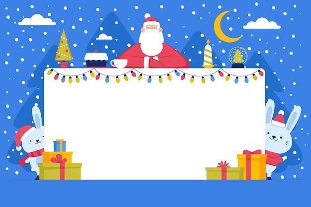 Weihnachtsmann, der leeres banner hält