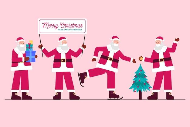 Weihnachtsmann, der medizinische maskensammlung trägt