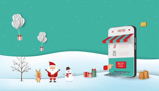 Weihnachtsmann, der online auf der mobilen anwendung einkauft