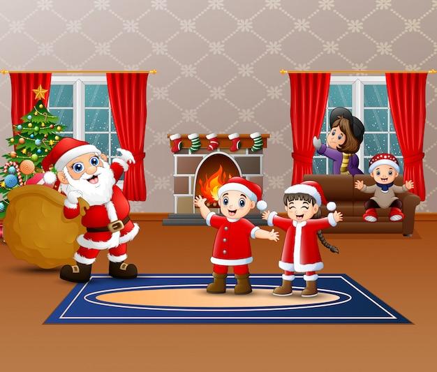 Weihnachtsmann, der sack geschenk für kinder hält