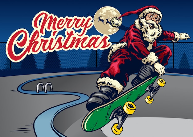 Weihnachtsmann, der skateboard im pool spielt