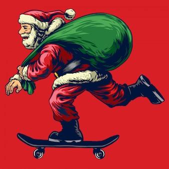 Weihnachtsmann, der skateboard reitet