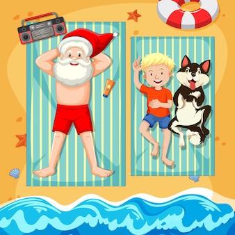 Weihnachtsmann, der sonnenbad am strand mit sommerelement nimmt