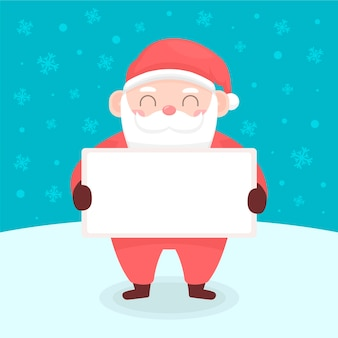 Weihnachtsmann, der unbelegte fahne anhält