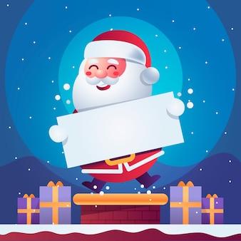 Weihnachtsmann, der unbelegte weihnachtsfahne anhält