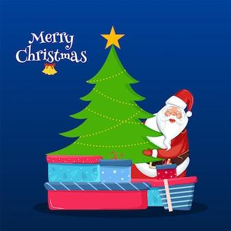 Weihnachtsmann, der weihnachtsbaum mit geschenkboxen auf blau für feier-grußkarte der frohen weihnachten hält.