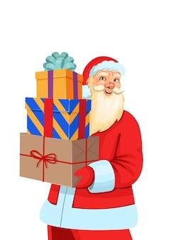 Weihnachtsmann, der weihnachtsgeschenke lokalisiert auf einem weißen hintergrund hält.
