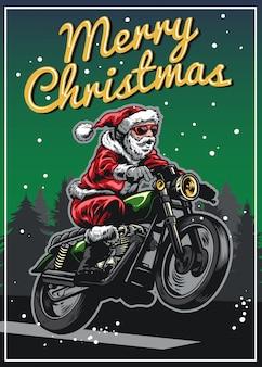 Weihnachtsmann, der weinlesemotorrad reitet
