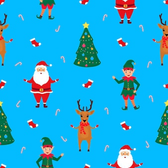 Weihnachtsmann, elf und hirsch. nahtloses muster von weihnachten und neujahr.