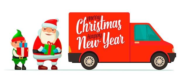 Weihnachtsmann, elf und roter lieferwagen mit schatten und kisten. produkt waren versand transport für neujahr und frohe weihnachten. flache vektorfarbillustration für plakat, gitterkarte