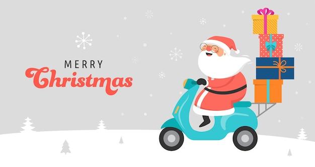 Weihnachtsmann fährt auf roller.