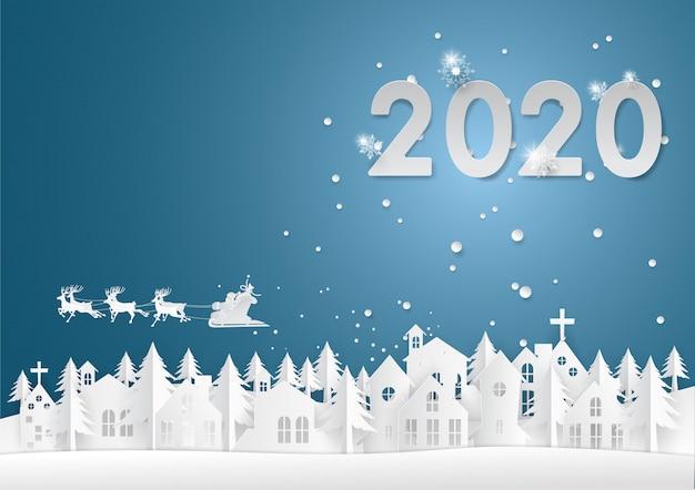 Weihnachtsmann-fahrren übersteigen die whitstadt im hintergrund 2020