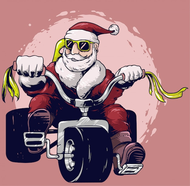 Weihnachtsmann fahrt fahrrad-vektor-design