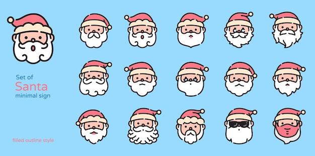 Weihnachtsmann farbige linie design symbol vektor-illustration. gefüllt und umrissen.