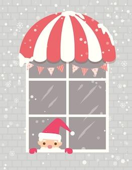 Weihnachtsmann fenster haus