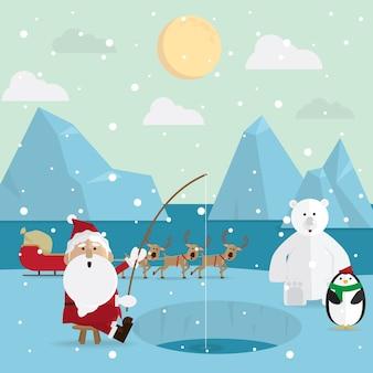 Weihnachtsmann-fischen entspannen sich draußen im winter