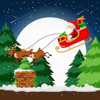 Weihnachtsmann fliegt in einem schlitten