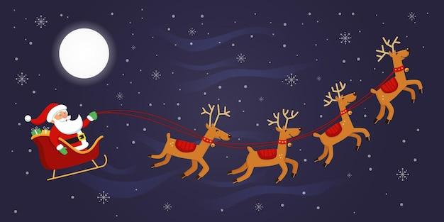 Weihnachtsmann fliegt mit seinen rentieren