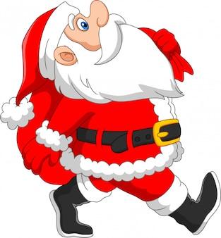 Weihnachtsmann geht mit einem sack geschenke