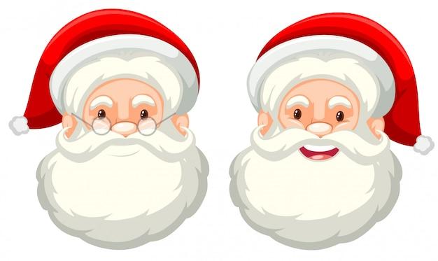 Weihnachtsmann-gesichtsausdruck auf weißem hintergrund