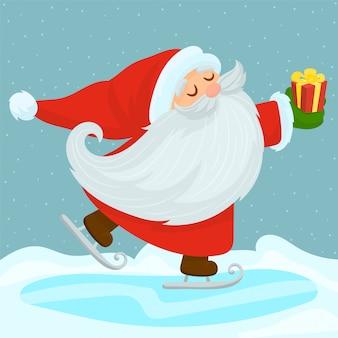 Weihnachtsmann gibt geschenke auf schlittschuhen