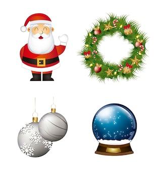Weihnachtsmann girlande mit weihnachtskugeln und schneekugel vektor
