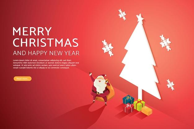 Weihnachtsmann-großvater mit einem haufen geschenke auf einem weihnachtsbaum beleuchteten schildhintergrund