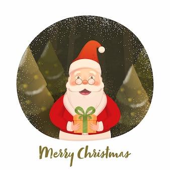Weihnachtsmann hält eine geschenkbox mit weihnachtsbäumen, geräuscheffekt und schneefall auf olivem und weißem hintergrund für frohe weihnachten.