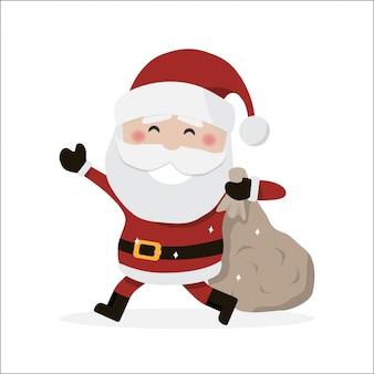 Weihnachtsmann hält eine tasche.