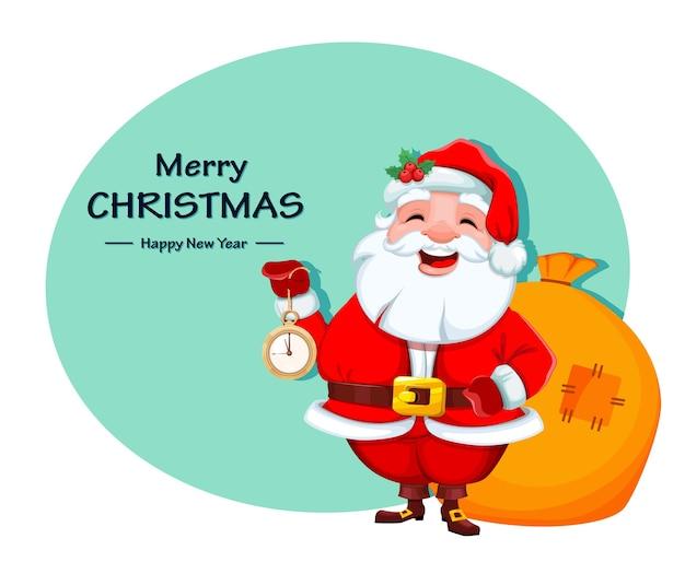 Weihnachtsmann hält sack mit geschenken