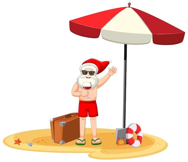 Weihnachtsmann hält weinglas-zeichentrickfigur im sommerkostüm