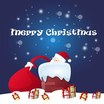 Weihnachtsmann halten roten sack mit geschenk