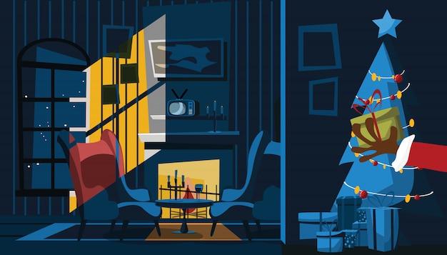 Weihnachtsmann-hand in der wohnzimmervektorillustration