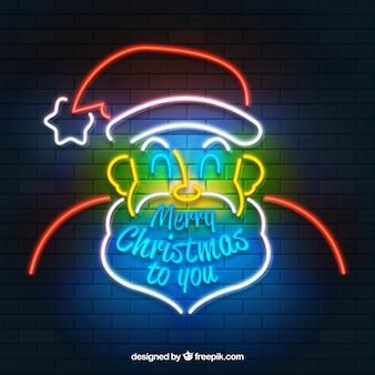 Weihnachtsmann hintergrund der neonröhren