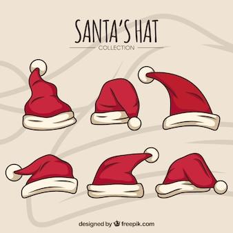 Weihnachtsmann hut cartoon set