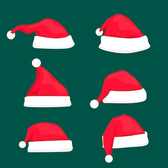 Weihnachtsmann hutkollektion im flachen design