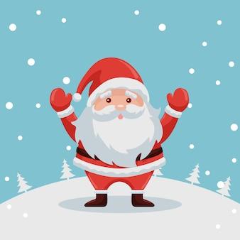 Weihnachtsmann-illustration im schnee