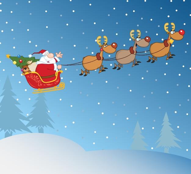 Weihnachtsmann im flug mit seinem rentier und schlitten