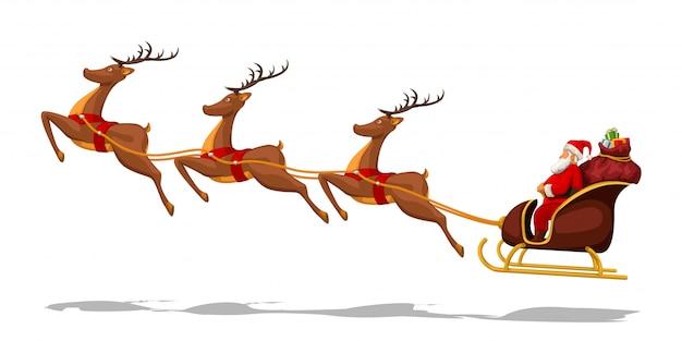 Weihnachtsmann im schlitten mit hirschen