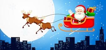 Weihnachtsmann im Schlitten mit Rentieren