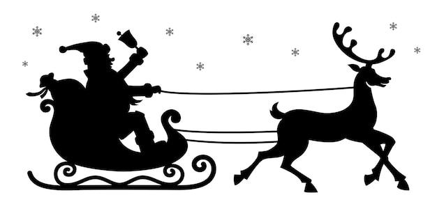 Weihnachtsmann im schlitten mit rentiersilhouette. schwarzes vektorschattenbild lokalisiert auf weißem hintergrund.