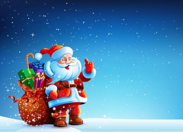 Weihnachtsmann im schnee mit geschenktüte