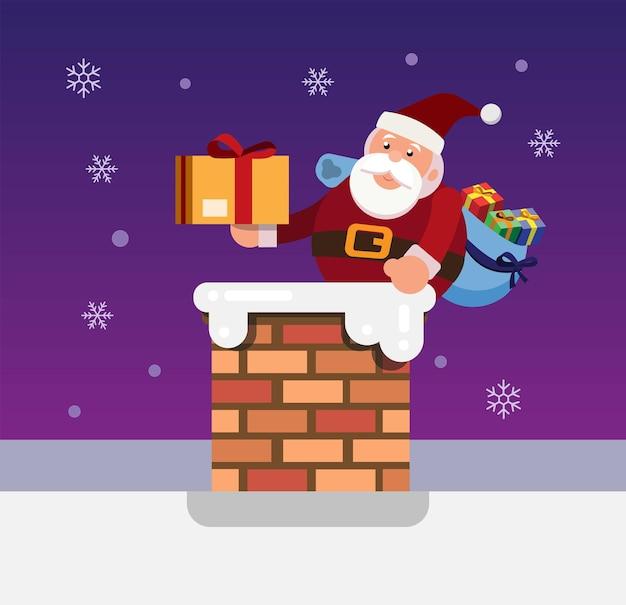 Weihnachtsmann im schornstein mit geschenkpaket weihnachten und neujahr saison illustration vektor