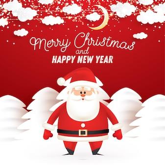 Weihnachtsmann im verschneiten winterwald. mond und schneeflocken im bewölkten himmel. vektor-illustration. frohe weihnachten und ein glückliches neues jahr. grußkarte.