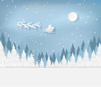 Weihnachtsmann im Wald mit Schnee in der Wintersaison. Weihnachten, Neujahrskarte