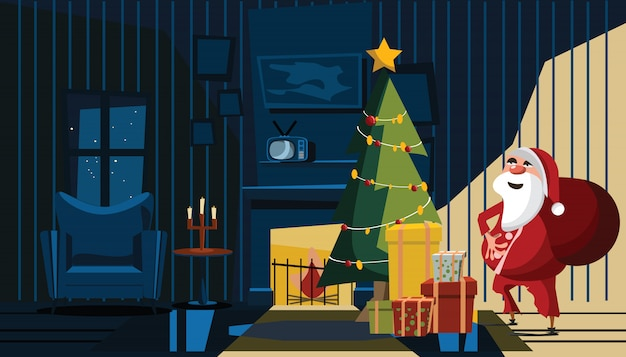 Weihnachtsmann im wohnzimmer